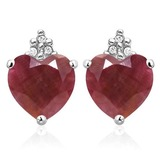 1.95 CARAT RUBY 10K SOLID WHITE GOLD HEART SHAPE EARRING WITH 0.03 CTW DIAMOND