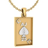 Gift For Card Players charm Pendant 14k Yellow Gold MADE IN ITALY