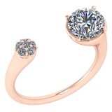Certified 1.61 Ctw Diamond VS/SI2 Ladies Fashion Halo Ring MADE IN USA MADE IN USA14k Rose Gold MADE