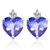 2.75 CARAT LAB TANZANITE 10K SOLID WHITE GOLD HEART SHAPE EARRING WITH 0.03 CTW DIAMOND