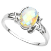 1.14 CT WHITE MYSTIC QUARTZ AND ACCENT DIAMOND 0.01 CT 10KT SOLID WHITE GOLD RING
