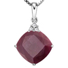 1.40 CTW RUBY 10K SOLID WHITE GOLD CUSHION SHAPE PENDANT WITH ANCENT DIAMONDS