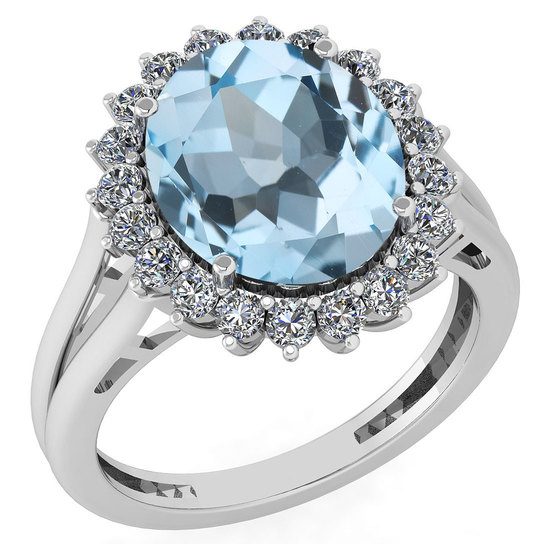 Certified 5.65 Ctw Blue Topaz And Diamond VS/SI1 Halo Ring 14k White Gold Made In USA