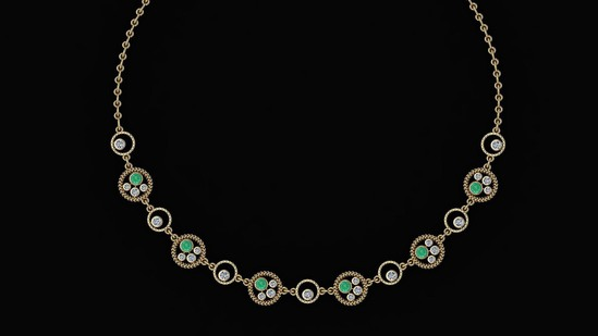 Certified 2.97 Ctw Emerald And Diamond VS/SI1 Beautiful Necklace 14K Yellow Gold Made In USA
