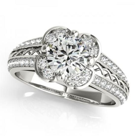 CERTIFIED PLATINUM .88 CTW G-H/VS-SI1 DIAMOND HALO ENGAGEMENT RING
