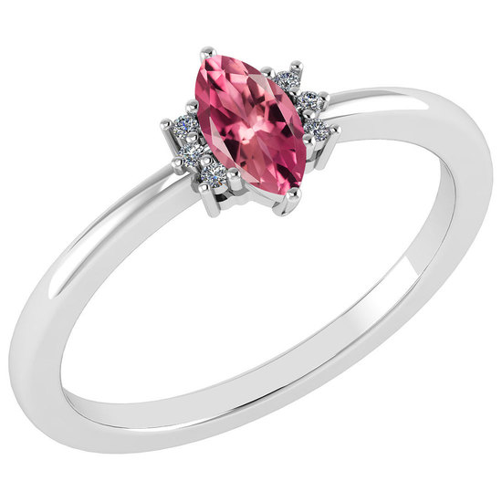 Certified 0.68 Ctw Pink Tourmaline And Diamond VS/SI1 Ring 14K White Gold Made In USA