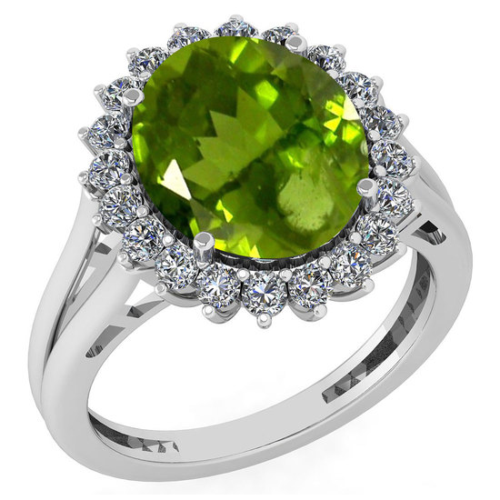 Certified 5.65 Ctw Peridot And Diamond VS/SI1 Halo Ring 14k White Gold Made In USA