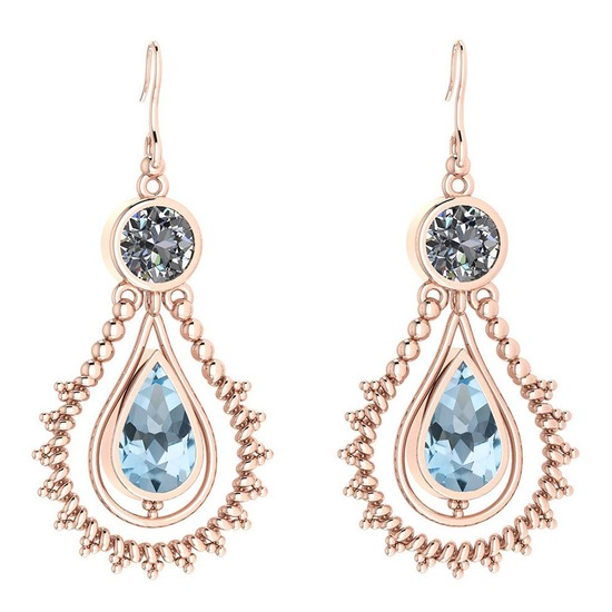 Certified 5.18 Ctw Blue Topaz And Diamond SI2/I1 Dangling Earrings 14K Rose Gold Made In USA