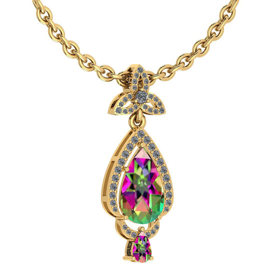 Certified 3.62 Ctw Mystic Topaz And Diamond VS/SI1 Necklace 14K Yellow Gold Made In USA