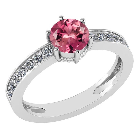 Certified 1.09 Ctw Pink Tourmaline And Diamond VS/SI1 Halo Ring 14k White Gold Made In USA
