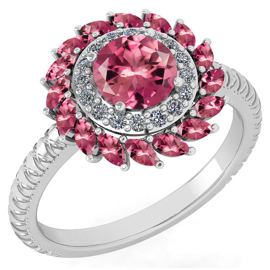 Certified 2.40 Ctw Pink Tourmaline And Diamond VS/SI1 Halo Ring 14k White Gold Made In USA