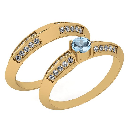 Certified 0.55 Ctw Blue Topaz And White Diamond VS/SI1 2 Pcs Ring 14k Yellow Gold Made In USA