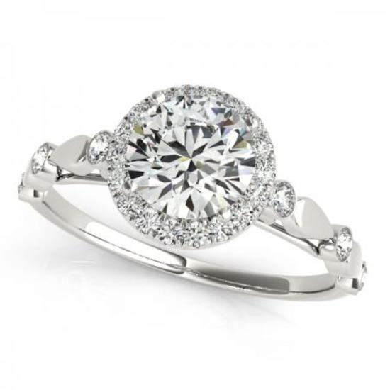 CERTIFIED PLATINUM 1.56 CTW G-H/VS-SI1 DIAMOND HALO ENGAGEMENT RING