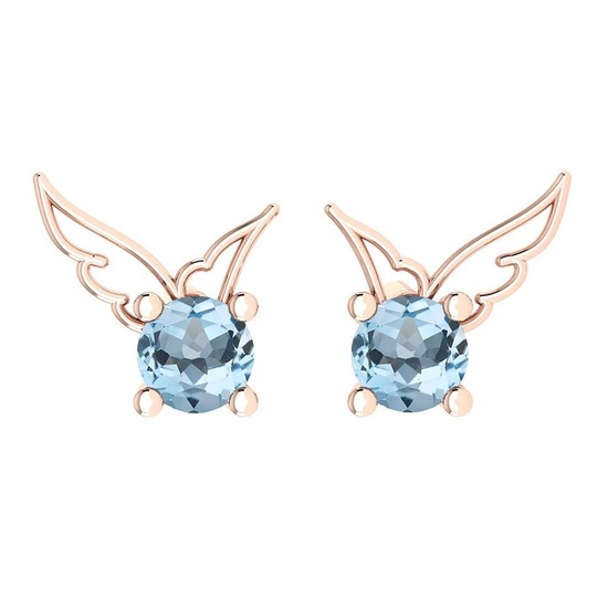 Certified 0.50 Ctw Blue Topaz Stud Earrings 14K Gold Rose Gold Made In USA