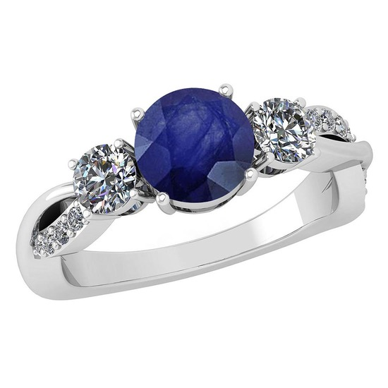 Certified 1.86 Ctw Blue Sapphire And Diamond VS/SI1 3 Stone Ring 14k White Gold Made In USA