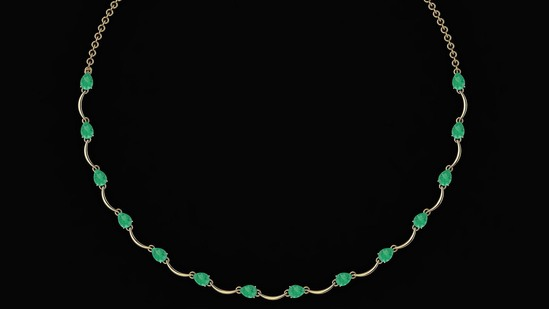 Certified 10.05 Ctw Emerald Necklace 14K Yellow Gold