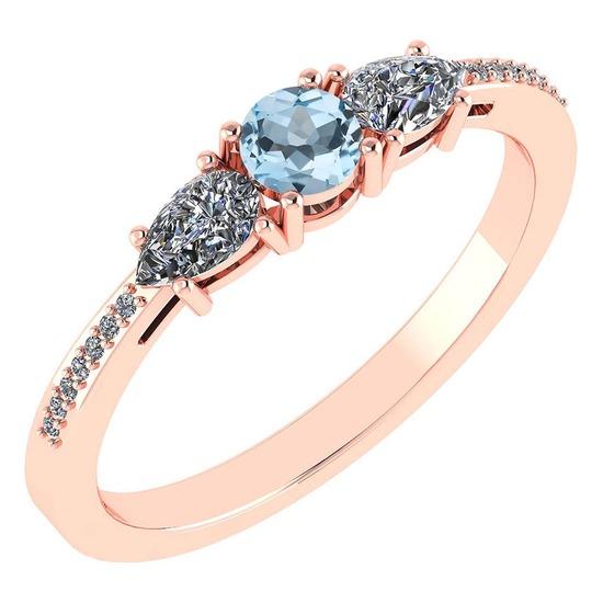 Certified 0.77 Ctw Aquamarine And Diamond 18K Rose Gold Halo Ring G-H VSSI1
