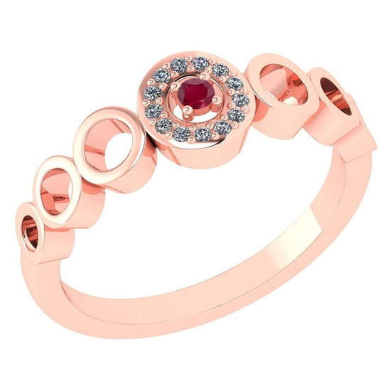 Certified 0.09 Ctw Ruby And Diamond 14k Rose Gold Halo Ring G-H VS/SI1