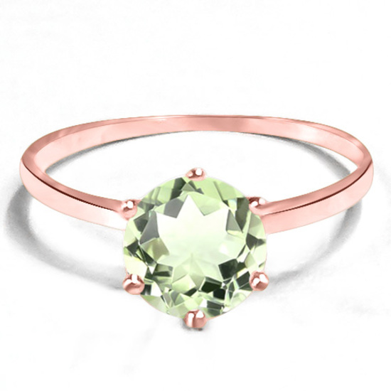0.74 CT GREEN AMETHYST 10KT SOLID RED GOLD RING