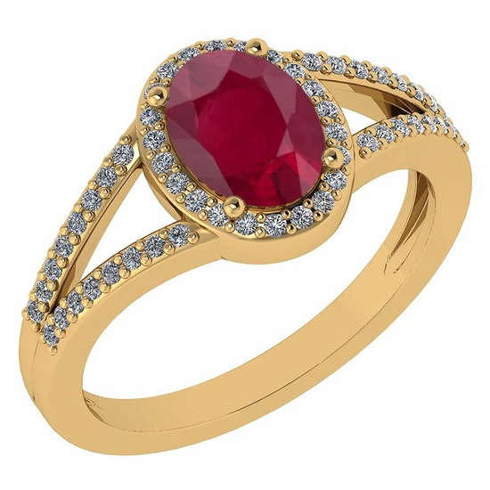 Certified 1.52 Ctw Ruby And Diamond 14k Yellow Gold Halo Ring G-H VS/SI1