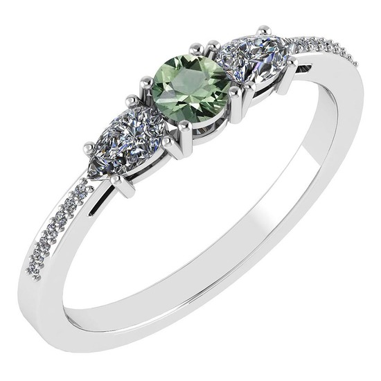Certified 0.77 Ctw Green Amethyst And Diamond Platinum Halo Ring