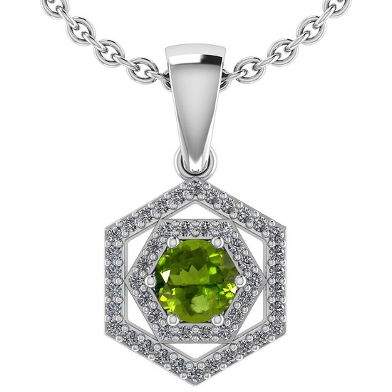 Certified 0.69 Ctw Peridot And Diamond Platinum Halo Pendant