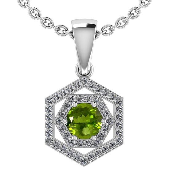 Certified 0.69 Ctw Peridot And Diamond Platinum Halo Pendant