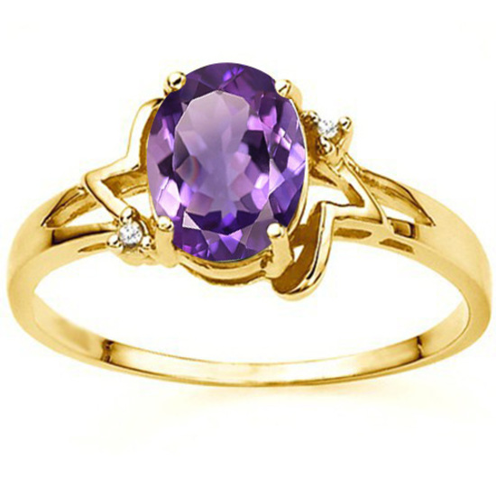 1.10 CT AMETHYST AND ACCENT DIAMOND 0.01 CT 10KT SOLID YELLOW GOLD RING