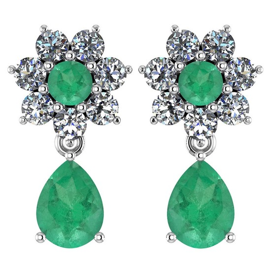 Certified 4.86 Ctw Emerald And Diamond Platinum Halo Dangling Earrings