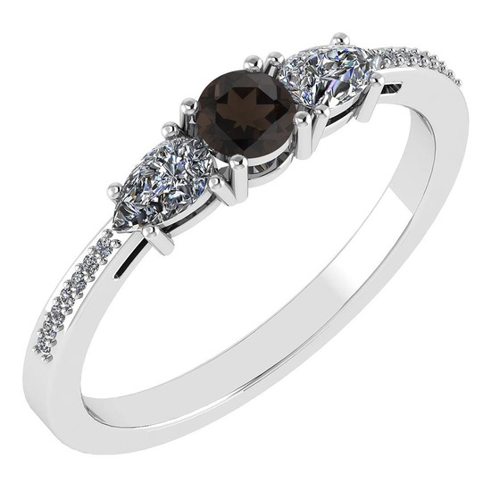 Certified 0.77 Ctw Smoky Quarzt And Diamond Platinum Halo Ring