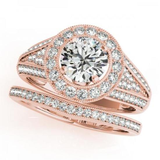 CERTIFIED 14KT ROSE GOLD 0.95 CTW G-H/VS-SI1 DIAMOND HALO BRIDAL SET