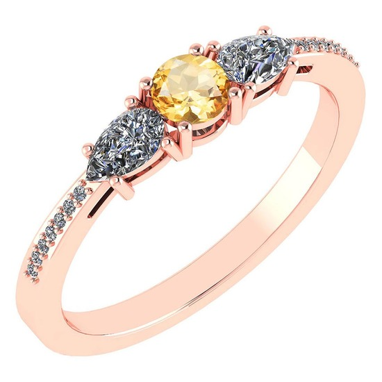 Certified 0.77 Ctw Citrine And Diamond 18K Rose Gold Halo Ring G-H VSSI1
