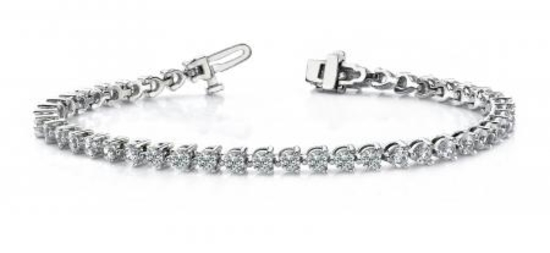 14K WHITE GOLD 2 CTW G-H I1/I2 THREE PRONG TENNIS BRACELET