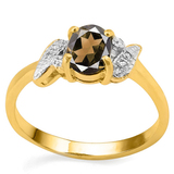 0.7 CT SMOKEY AND ACCENT DIAMOND 0.03 CT 10KT SOLID YELLOW GOLD RING