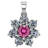 Certified 0.93 Ctw Pink Tourmaline And Diamond 18K White Gold Halo Pendant G-H VS/SI1