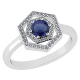 Certified 0.69 Ctw Blue Sapphire And Diamond 18K White Gold Halo Ring G-H VSSI1