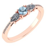 Certified 0.77 Ctw Aquamarine And Diamond 18K Rose Gold Halo Ring G-H VSSI1