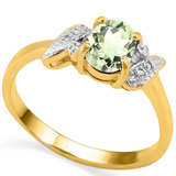 0.68 CT GREEN AMETHYST AND ACCENT DIAMOND 0.03 CT 10KT SOLID YELLOW GOLD RING