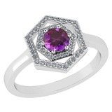 Certified 0.69 Ctw Amethyst And Diamond Platinum Halo Ring