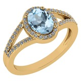 Certified 1.52 Ctw Aquamarine And Diamond 14k Yellow Gold Halo Ring G-H VS/SI1