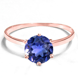 1.38 CT CREATED TANZANITE 10KT SOLID RED GOLD RING