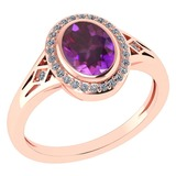 Certified 1.39 Ctw Amethyst And Diamond 14k Rose Gold Halo Ring G-H VS/SI1