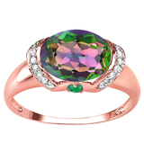 2.26 CT GREEN MYSTICS QUARTZ 0.1 CT EMERALD AND ACCENT DIAMOND 0.09 CT 10KT SOLID RED GOLD RING