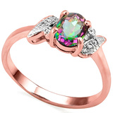 0.63 CT RAINBOW MYSTIC QUARTZ AND ACCENT DIAMOND 0.03 CT 10KT SOLID RED GOLD RING