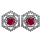 Certified 1.38 Ctw Ruby And Diamond 18k White Gold Halo Stud Earrings G-H VS/SI1