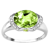 2.16 CT PERIDOT 0.1 CT PERIDOT AND ACCENT DIAMOND 0.09 CT 10KT SOLID WHITE GOLD RING