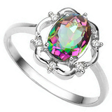 0.96 CT RAINBOW MYSTIC QUARTZ AND ACCENT DIAMOND 0.02 CT 10KT SOLID WHITE GOLD RING