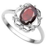 1.11 CT GARNET AND ACCENT DIAMOND 0.02 CT 10KT SOLID WHITE GOLD RING