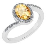 Certified 1.44 Ctw Citrine And Diamond 14k White Gold Halo Ring G-H VS/SI1