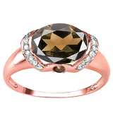 1.98 CT SMOKEY QUARTZ 0.1 CT SMOKEY AND ACCENT DIAMOND 0.09 CT 10KT SOLID RED GOLD RING